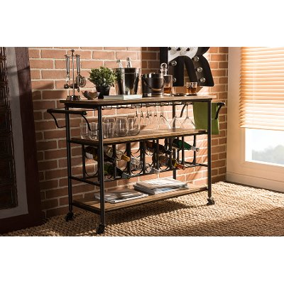 Black Metal And Distressed Wood Kitchen Bar Cart