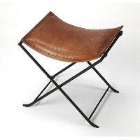 Brown Leather Stool with Iron Base