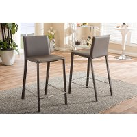 2PC-6661-RCW Taupe Leather Upholstered Counter Height Stools - Crawford