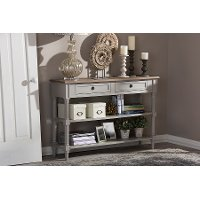 6655-RCW Rustic French Country Sofa Table with Drawers - Edouard
