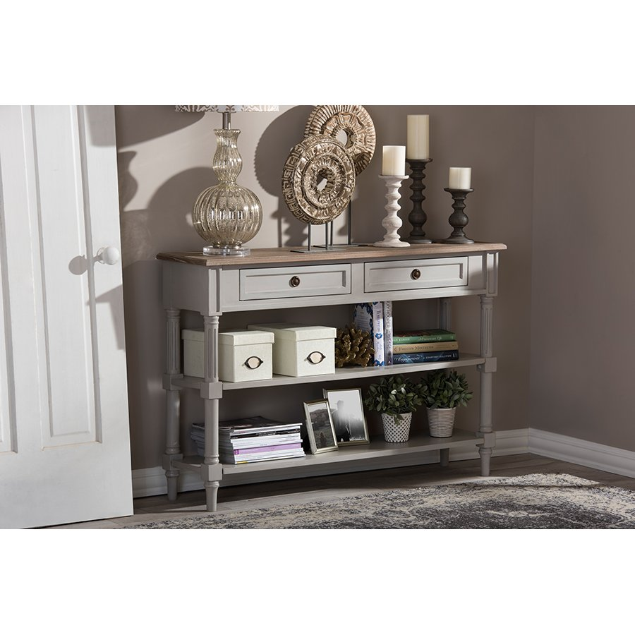 Rustic French Country Sofa Table With Drawers Edouard Rc Willey Furniture