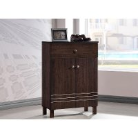 6497-RCW Dark Brown Shoe Cabinet - Felda