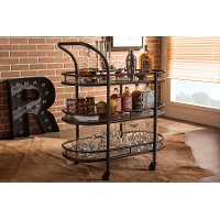 6647-RCW Antique Black Mobile Kitchen Bar/ Wine Cart - Karlin