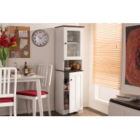 6521-RCW White Buffet and Hutch Kitchen Cabinet - Lauren