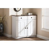 6522-RCW White Buffet Kitchen Cabinet - Lauren