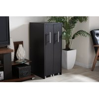 6474-RCW Dark Brown Double Door Bookcase - Lindo