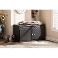 6475-RCW Dark Brown Shoe Cabinet Seating Bench - Margaret