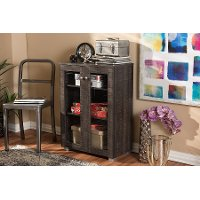 6496-RCW Dark Brown Storage Cabinet with Glass Doors - Mason
