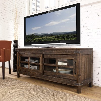 6268-880 64 Inch Rustic Walnut TV Stand - New Castle