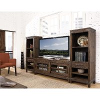 3 Piece Rustic Walnut Entertainment Center New Castle Rc Willey Furniture Store