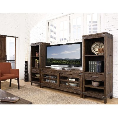 3PC/CNSL/Lu0026RPIER 3 Piece Rustic Walnut Entertainment Center   New Castle