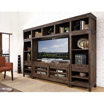 4PC/CNSL/Lu0026RPIER/LGH 4 Piece Rustic Walnut Entertainment Center   New