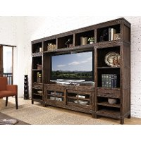 4PC/CNSL/L&RPIER/LGH Rustic Brown 4 Piece Walnut Entertainment Center - New Castle