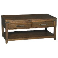 6268-874 Rustic Brown Coffee Table on Wheels - New Castle