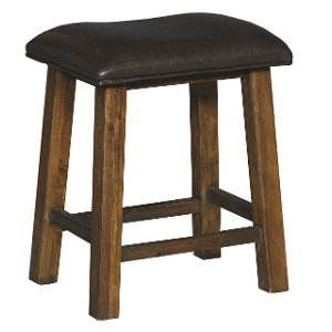 rustic brown stool with padded seat new castle