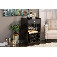 Dark Brown Dry Bar and Wine Cabinet - Oscar
