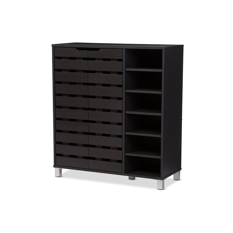 Contemporary Shoe Cabinet With Open Shelves   RC Willey Furniture Store