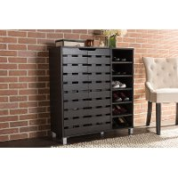 6477-RCW Dark Brown Shoe Cabinet with Open Shelves - Shirley