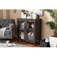 6499-RCW Dark Brown Cabinet with Glass Doors - Sintra