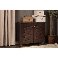 6513-RCW Dark Brown 2-Door Shoe Cabinet - Winda