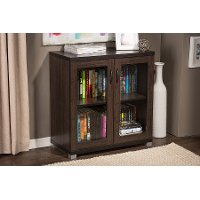 6494-RCW Dark Brown Storage Cabinet with Glass Doors - Zentra