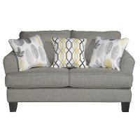 Stone Grey Upholstered Casual Contemporary Loveseat - Bryn