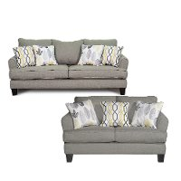 Contemporary Stone Gray 2 Piece Living Room Set - Bryn