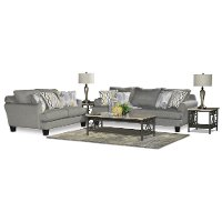 Casual Contemporary Gray 7 Piece Living Room Set - Bryn