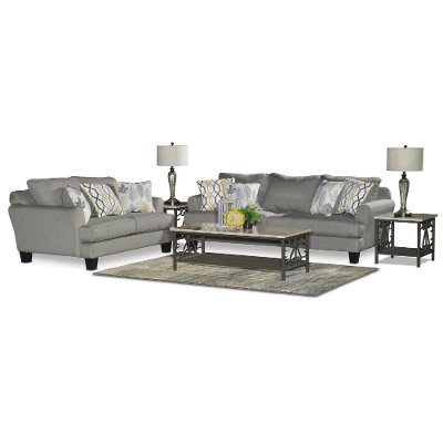Stone Gray Upholstered Casual Contemporary 7 Piece Room Group   Bryn