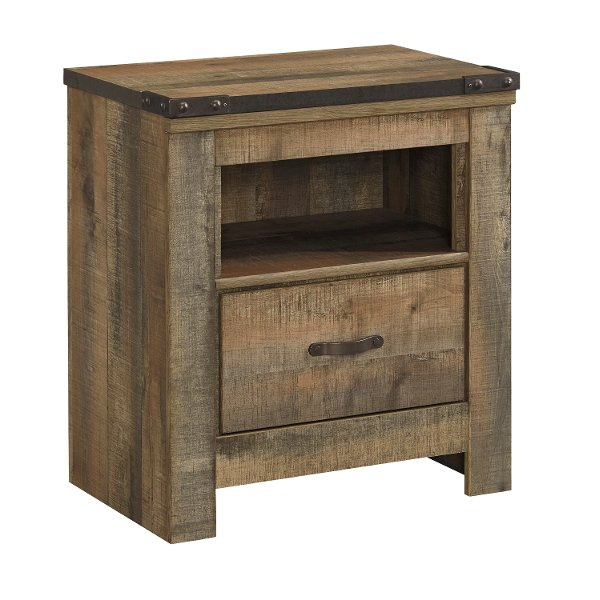 Contemporary Rustic Oak Youth Nightstand Trinell