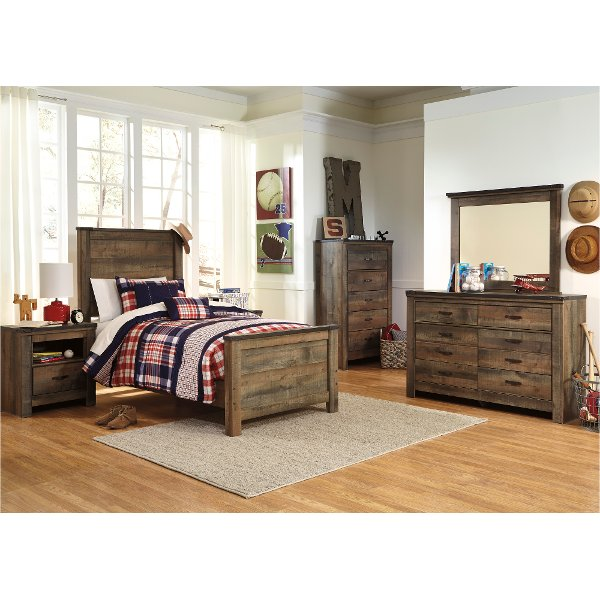 Contemporary Rustic Oak 4 Piece Twin Bedroom Set Trinell