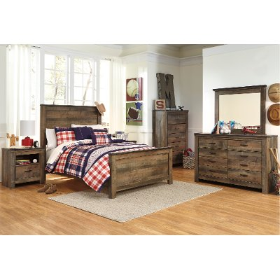 Rustic Casual Contemporary 6 Piece Full Bedroom Set   Trinell