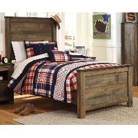 Contemporary Rustic Oak Twin Bed - Trinell