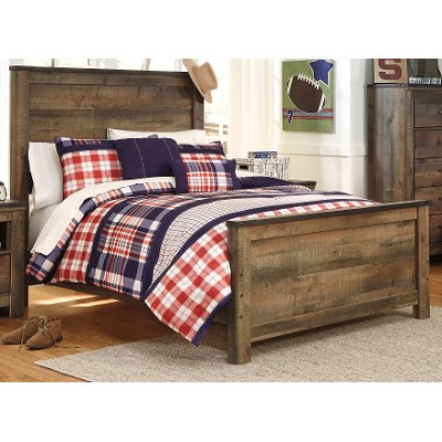 Contemporary Rustic Oak Full Bed - Trinell