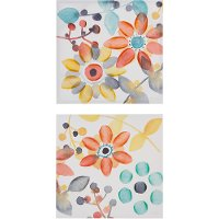 2 Piece Multi Color Sweet Floral Canvas Wall Art