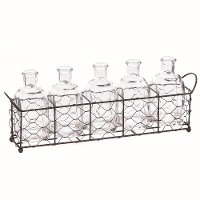 Metal Rectangle Basket with 5 Glass Bottles