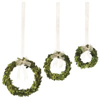 Set of 3 Preserved Boxwood Wreaths