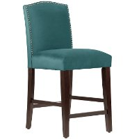 64-7NB-PWMSTPCC Mystere Peacock Nail Button Arched Back - Counter Stool