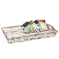 Distressed White Wooden Rectangular Tray