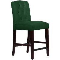 Velvet Emerald Tufted Arched Back Counter Stool Rc