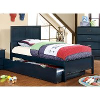 Classic Navy Blue Twin Size Bed - Prismo