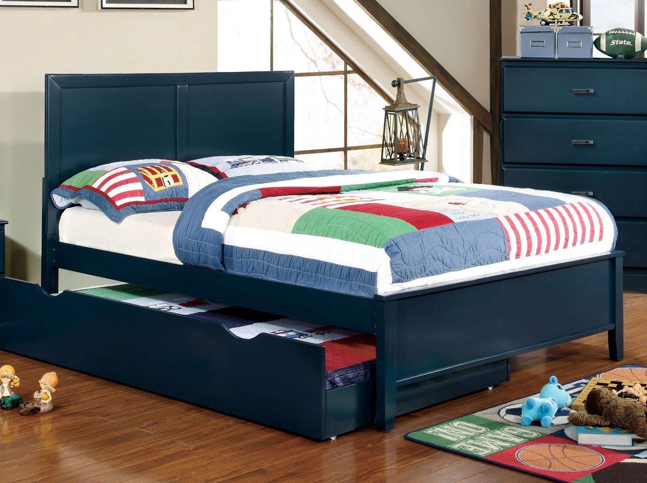 Classic Navy Blue 6-Piece Full Bedroom Set - Prismo