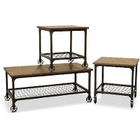 Rustic Elm and Black 3 Piece Coffee Table Set - Craft
