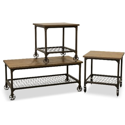 Marvelous Rustic Elm And Black 3 Piece Coffee Table Set   Craft