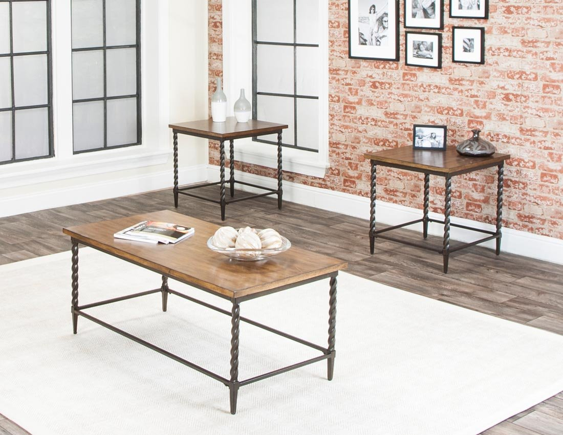 Rustic Living Room Table Sets: Classic Traditional Brown 7-Piece Room Group - Shiloh