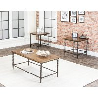 Rustic Oak 3 Piece Coffee Table Set - Pisa