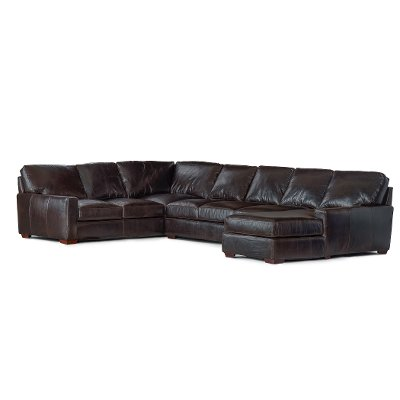 Contemporary Brown Leather 4 Piece Sectional   Mayfair