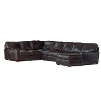 Contemporary Brown Leather 4 Piece Sectional Sofa - Mayfair