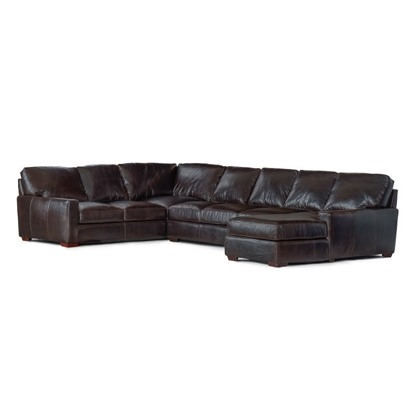 Brown Leather 4 Piece Sectional Sofa