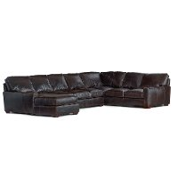 Brown Contemporary 4 Piece Leather Sectional Sofa - Mayfair